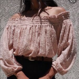 Anthropologie Lace Off Shoulder Top EUC Small
